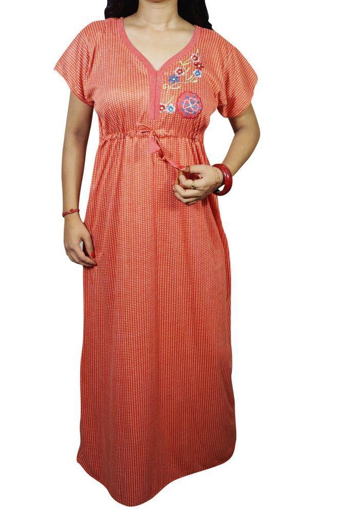 Indiatrendzs Women Nightwear Hosiery Red Polka Dot Sleepwear Maxi Nighty 42   2fb87758c