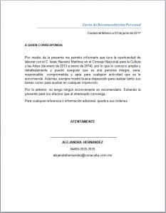 Ejemplo De Carta De Recomendación Personal Cartas De Recomendacion Ejemplo De Carta Formato De Carta Formal