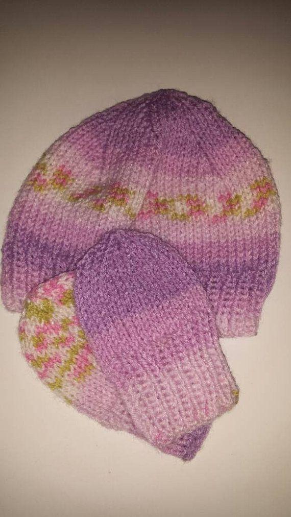Newborn hat and mitten set by OliverTwistCo on Etsy