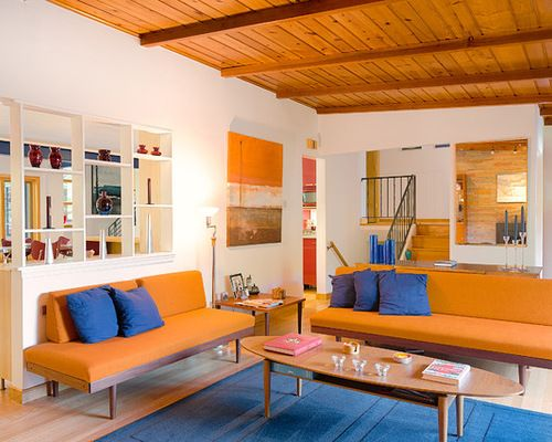 Split Complementary Bright Orange Color Scheme Home Interior ...