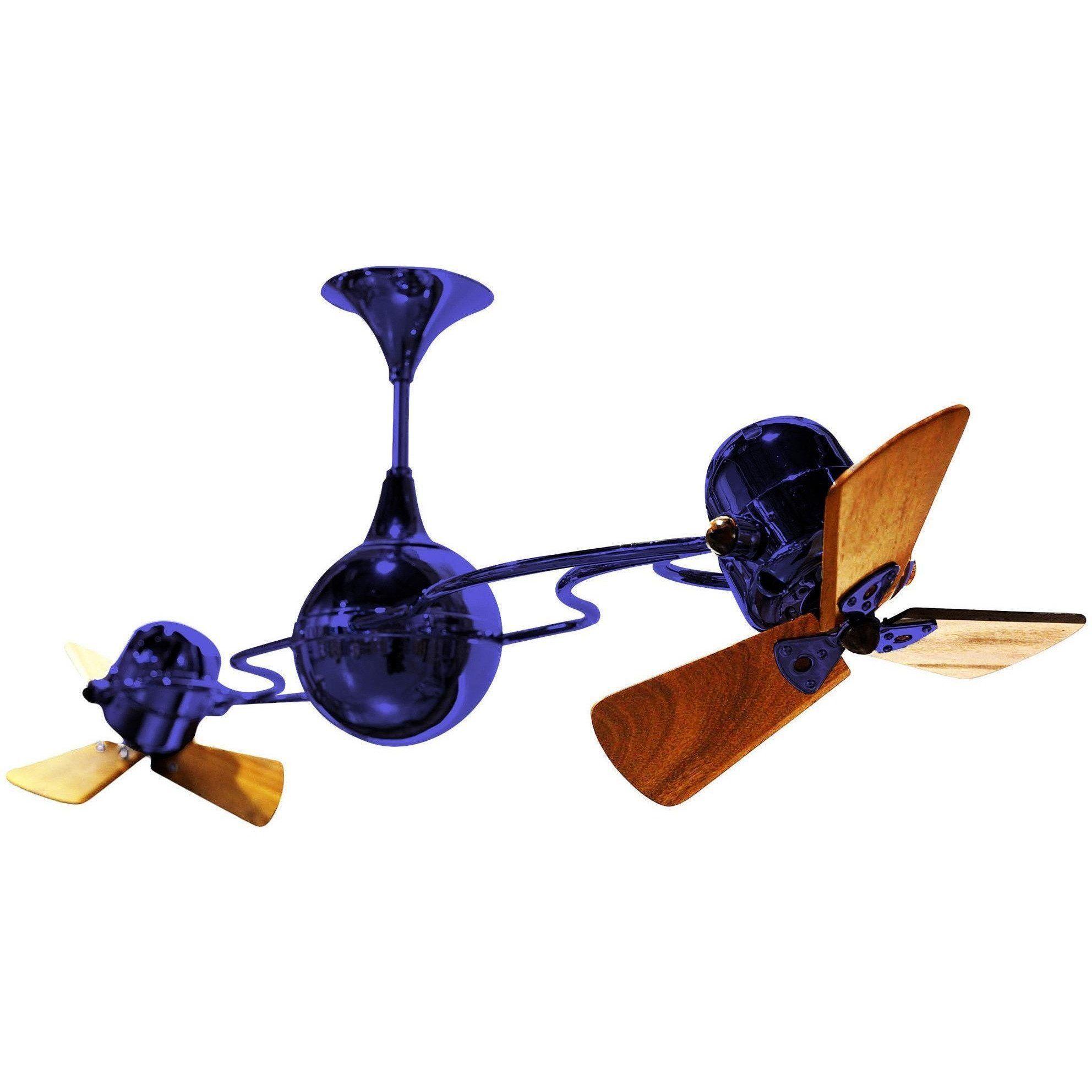 Italo Ventania Rotational Dual Ceiling Fan Wood Blades Blue