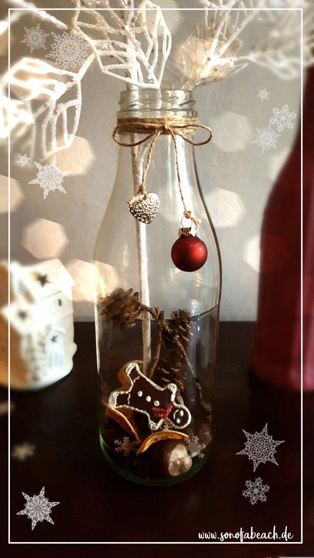 Weihnachtsdekoration vase flasche diy basteln #weihnachtlichetischdekoration