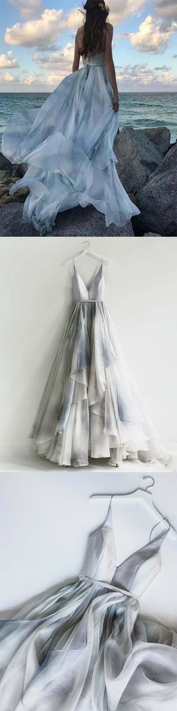 cde1580c1529 Unique A-Line Spaghetti Straps Backless Silver Prom Dress , 2018 Fashion  Long Party Dress with Ruffles