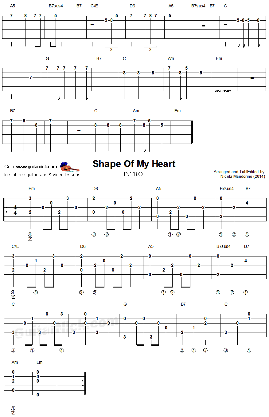 Shape Of My Heart Easy Guitar Lesson Easy Guitar Guitar Guitar Tabs Acoustic