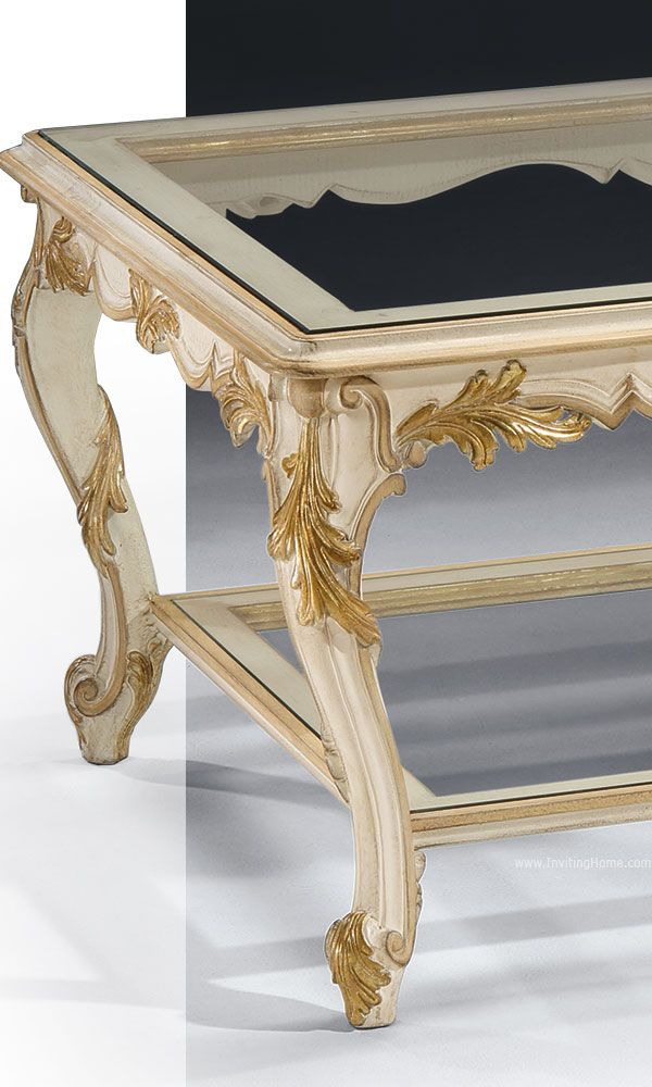 Beautiful Details Of The Louis Xvi Style Carved Wood Coffee Table In