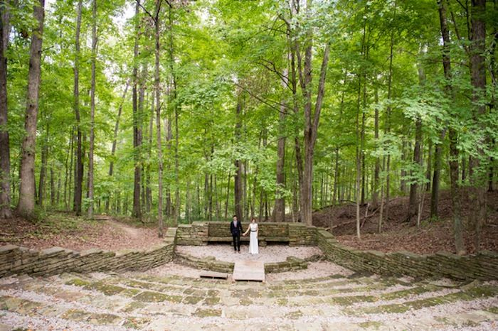 Fall Wedding At An Indiana State Park Brown County Abe Martin Lodge Browncountyweddings Amphitheater Abemartinlodge