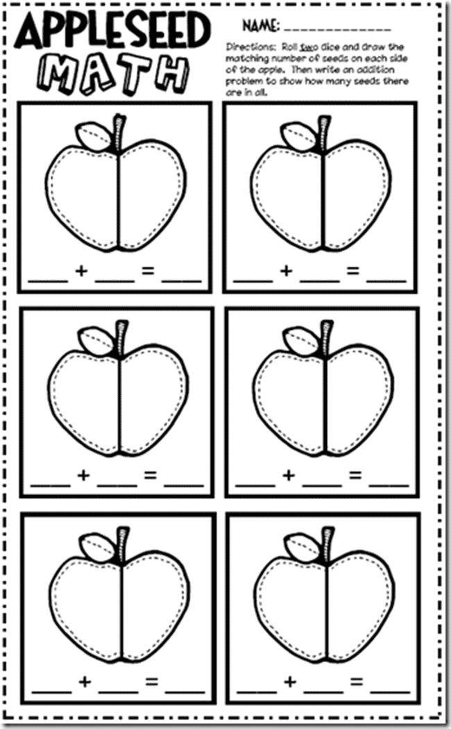 Apple Worksheets Kindergarten in 2020   Math, Homeschool ...