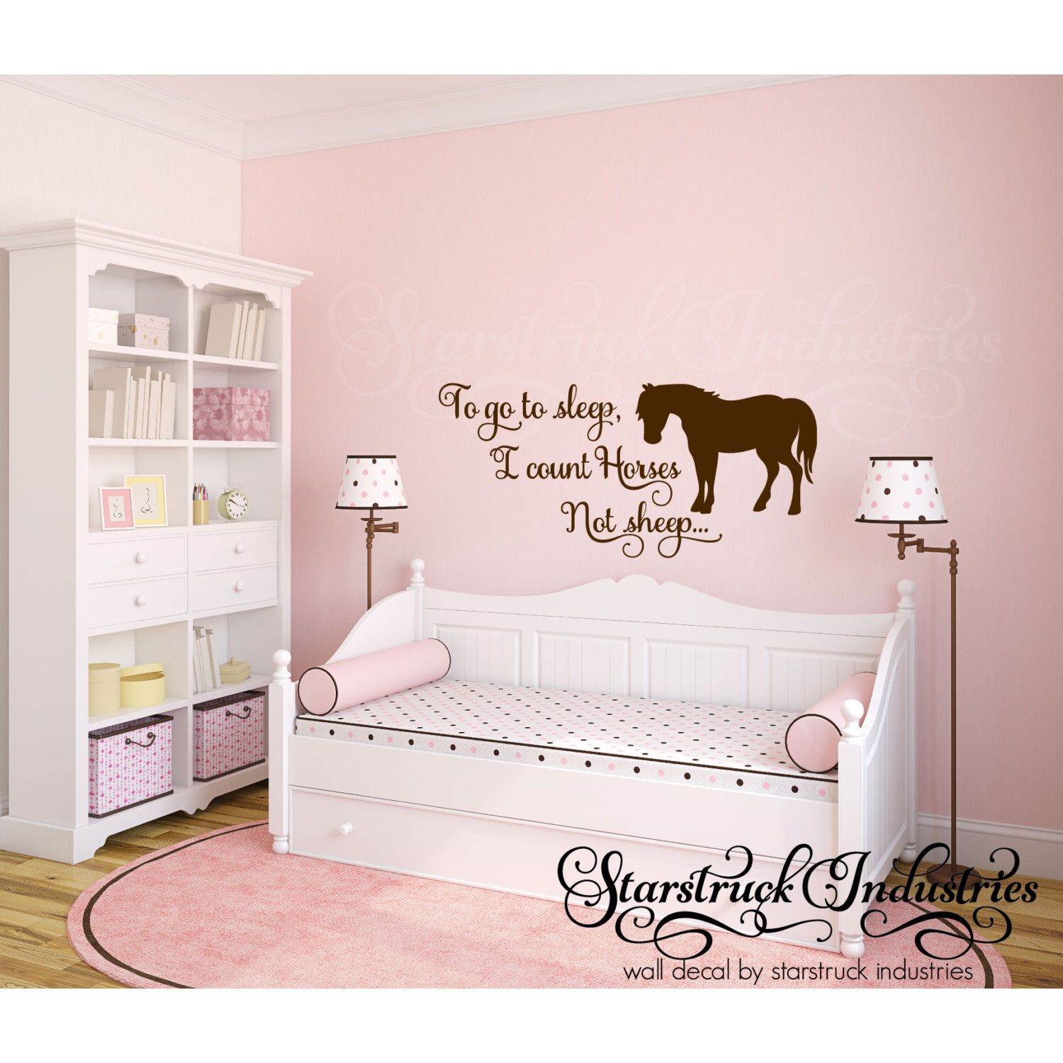 To go to sleep i count horses not sheep horse theme wall decal for