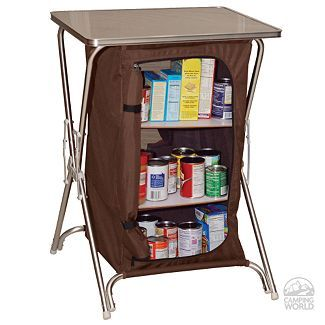 Folding camp pantry that doubles as extra counter space.  And you can even take it outside as food storage! Genius!