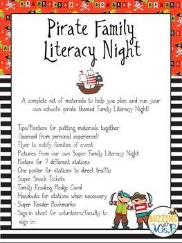 Pirate Family Literacy Night Editable Head Pinterest Literacy