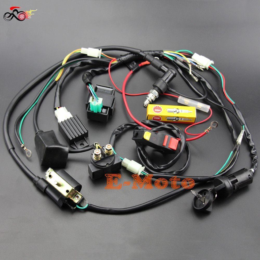 Full Wiring Harness Loom Solenoid Coil Regulator Cdi Ngk Spark Plug 50 70cc 90cc 110cc 125cc