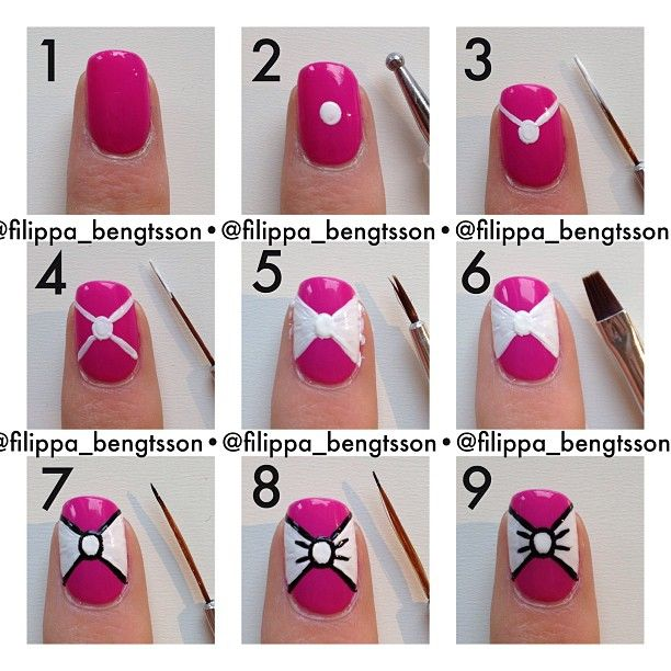 15 Completely Adorable DIY Fingernail Techniques | Bow nail ...