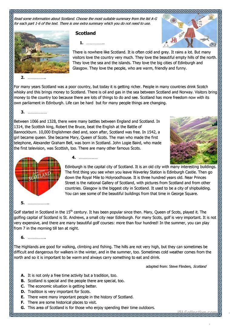 Scotland-factfile worksheet - Free ESL printable worksheets