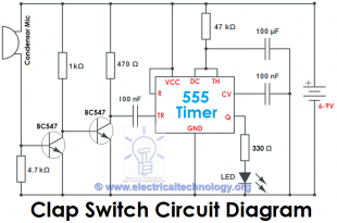 Clap Switch Circuit Electronic Project Using 555 Timer | Circuit ...