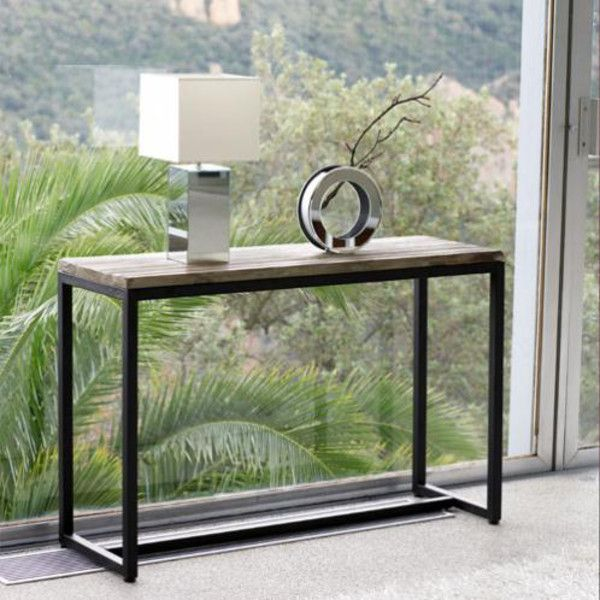 table console indus en sapin massif blanchi et m tal. Black Bedroom Furniture Sets. Home Design Ideas