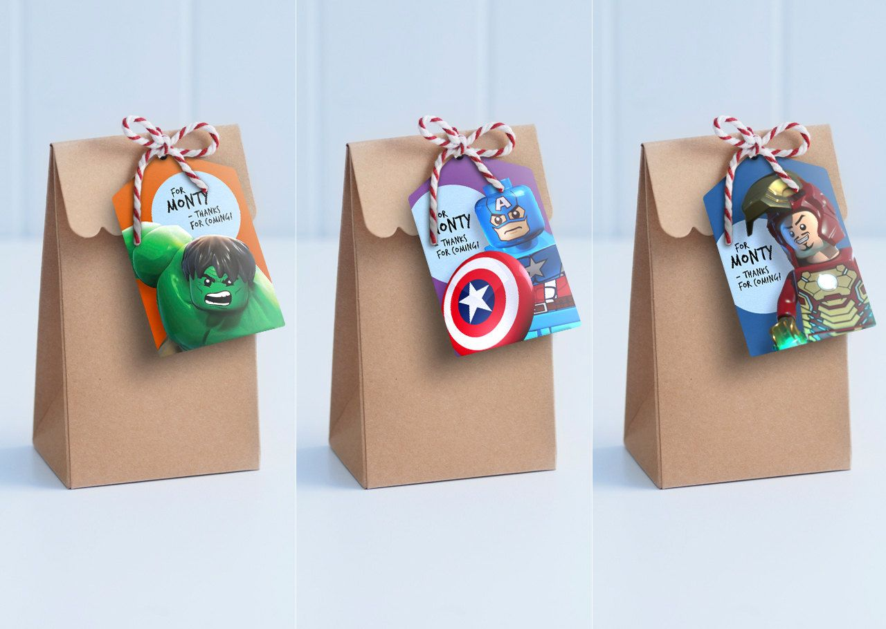 Lego Avengers Party Tags - Personalise, edit and print as many copies as you like / Loot Bag ...
