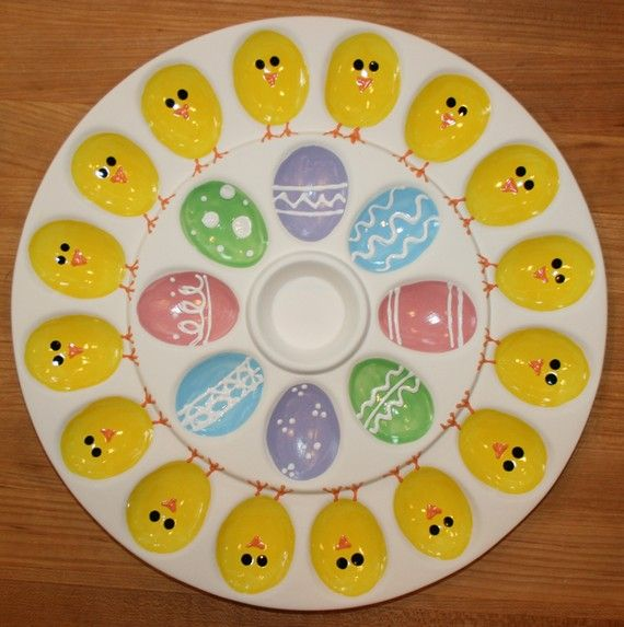 Deviled Egg Plate   Chicks U0026 Easter Eggs   Large Plate Great Ideas