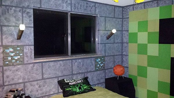 Awesome Awesome Parents Paint Sonu0027s Room With A Minecraft Theme