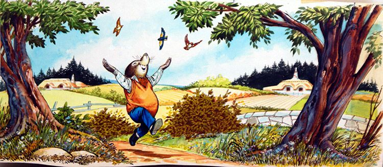 Mole Skips Down the Lane (Original) by Wind in the Willows (Nadir Quinto) at The Illustration Art Gallery