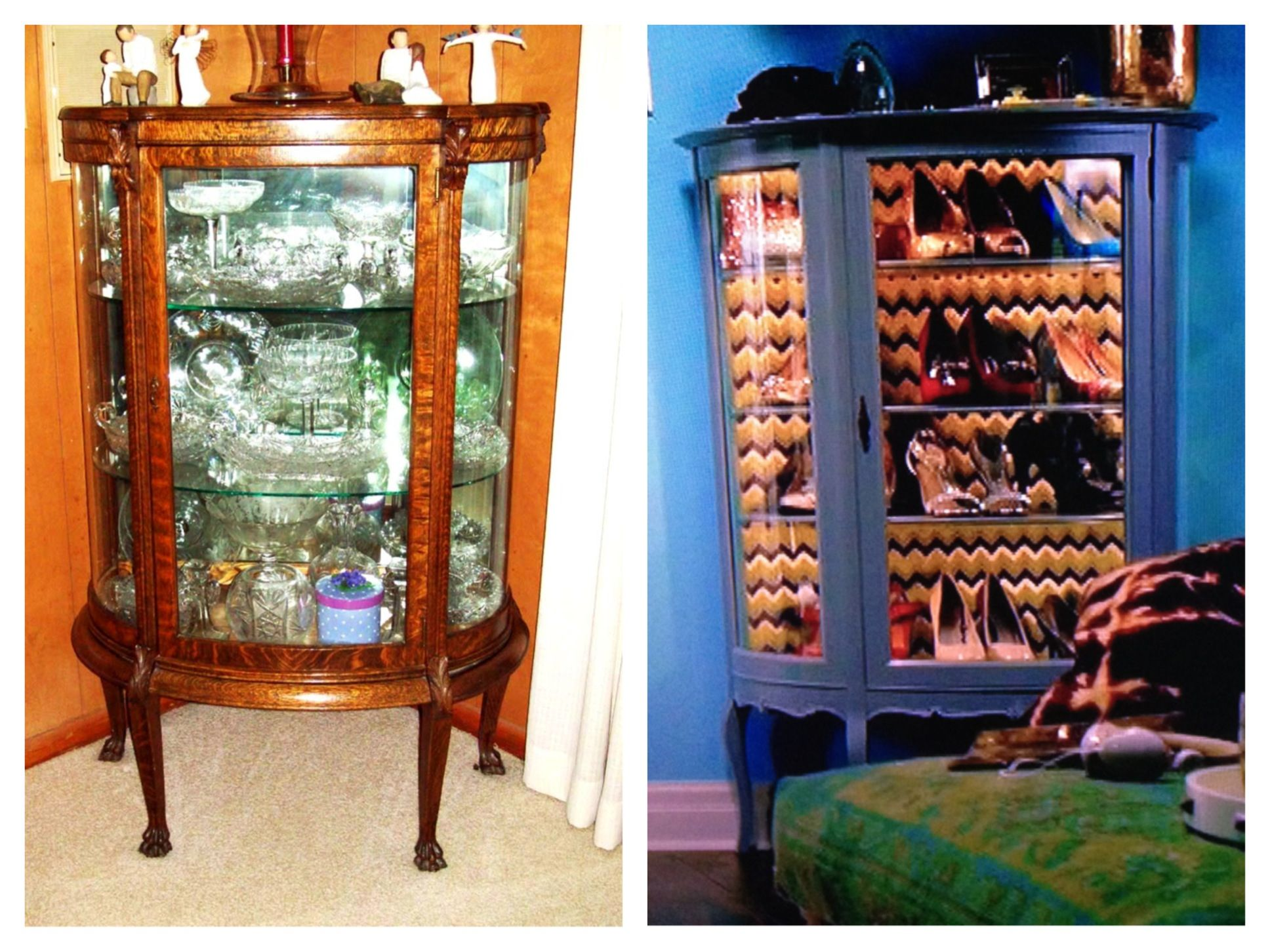 Mini china cabinet makeover to shoe display! OMG!! Why did I never ...