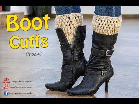 bed67b0eb36040 Boot Cuffs de Crochê - Com tabela de Tamanhos- P, M e G - Professora ...
