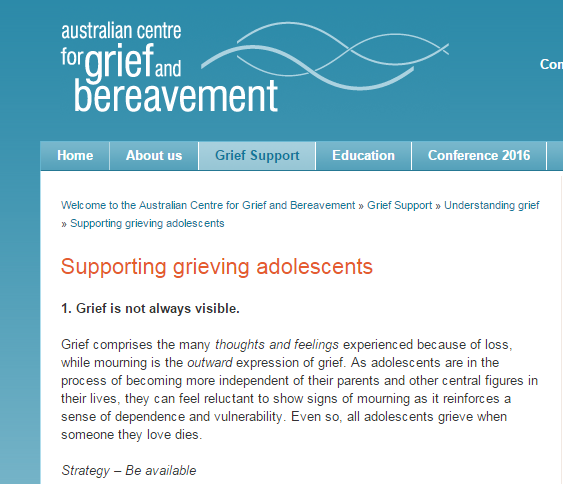 Understanding grief and supporting adolescents