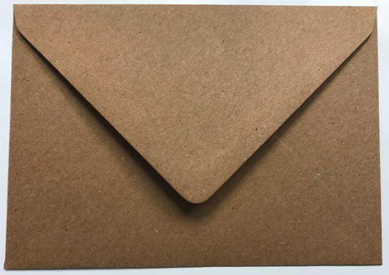 Wedding Envelopes Brown Kraft Fleck 110gsm Gummed Envelopes C6 DL C5