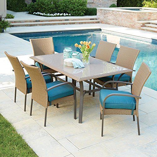 Balcony Make Over Corranade 7 Piece Wicker Outdoor Dining Set With