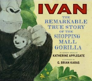 Review of Katherine Applegate and G. Brian Karas's Ivan: The Remarkable True Story of the Shopping Mall Gorilla by Nina Lindsay, September/October 2014 Horn Book Magazine