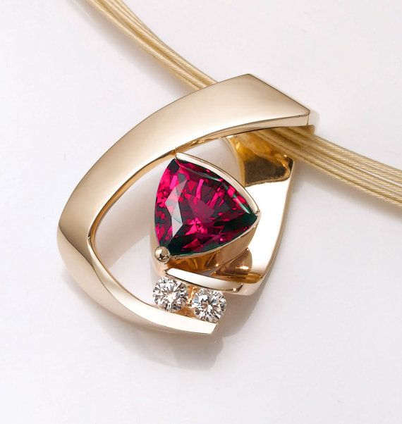 Ruby Necklace 14k Yellow Gold Chatham Ruby Necklace Diamond