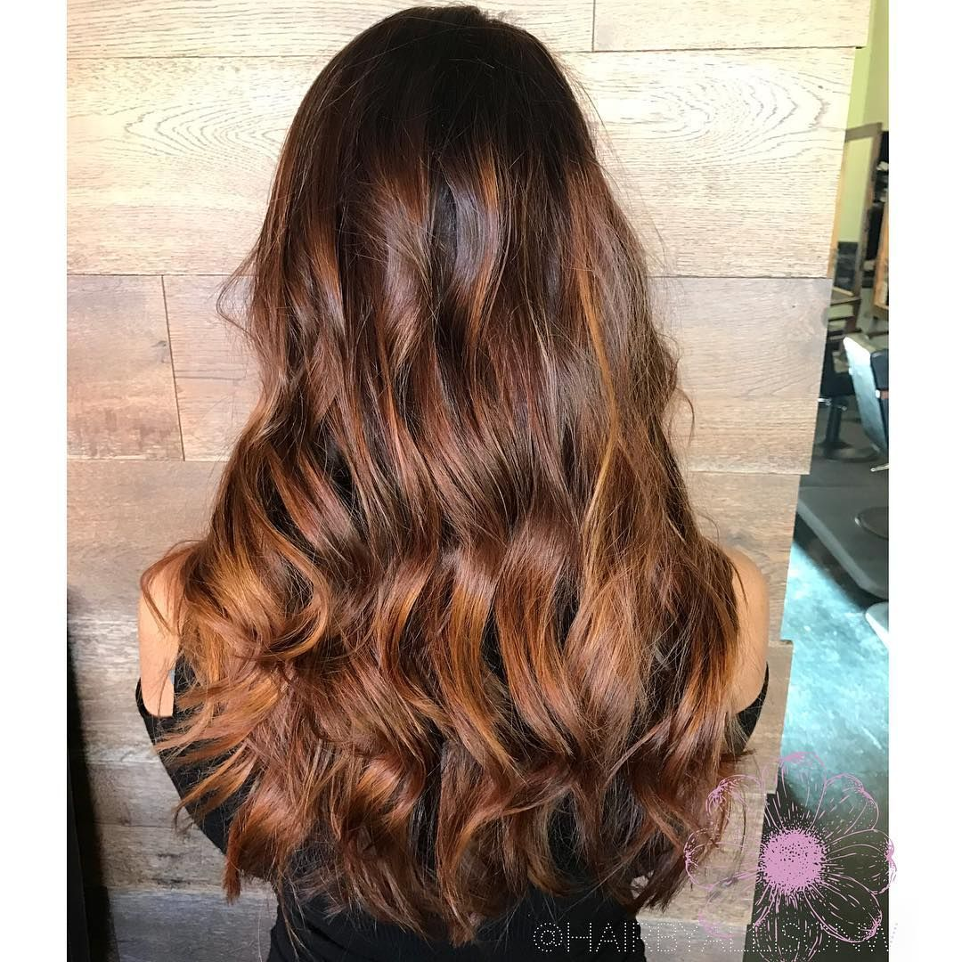 Golden copper balayage with a mocha brunette root hair pinterest