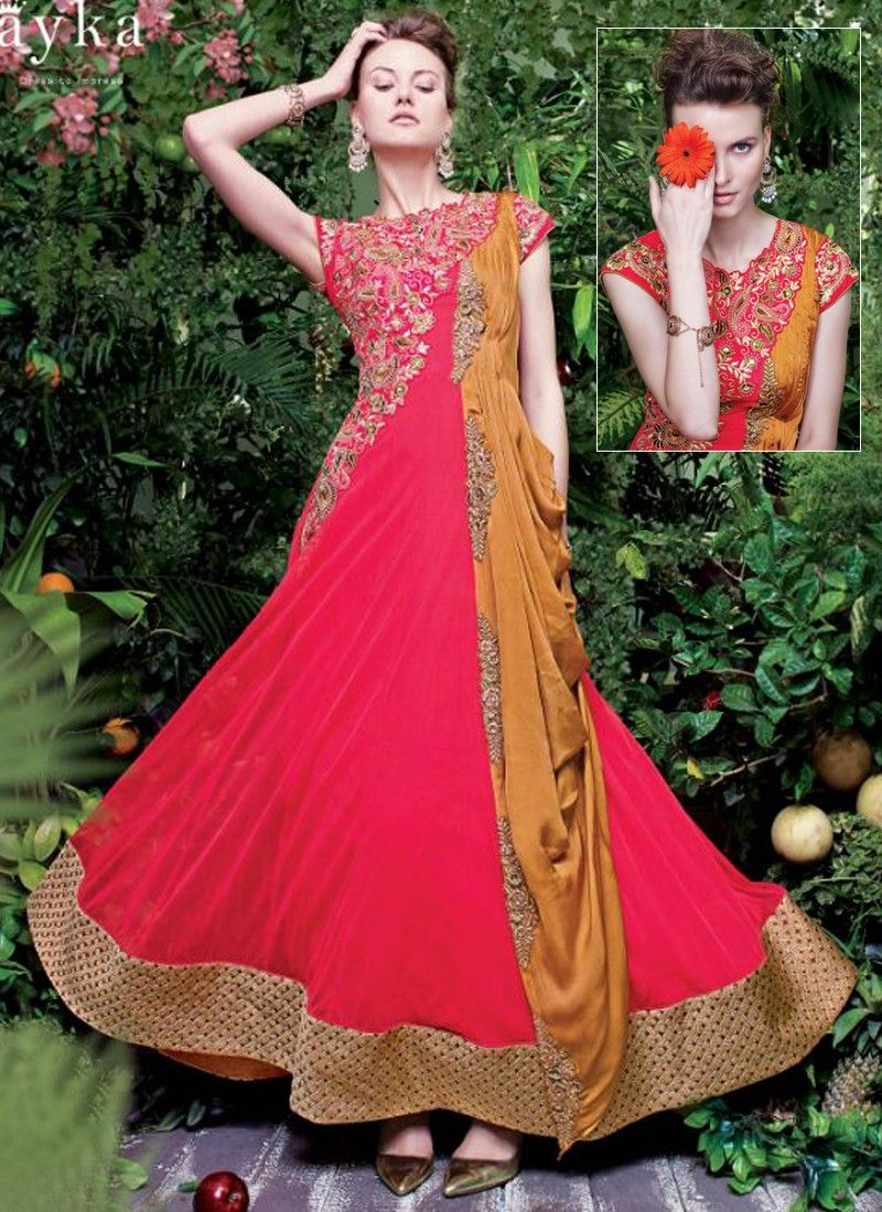c4fd6ec0e26 Fabulous Rani Pink Coloured Georgette Embroidery Indian Designer Gown At  Best Price By Uttamvastra - Online Shopping For Women
