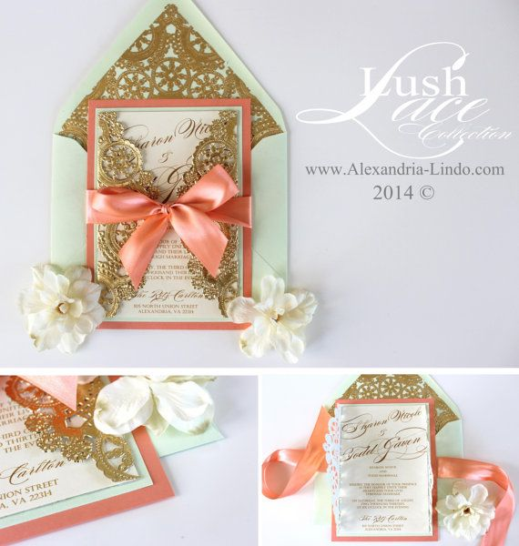 wedding invitation vintage coral mint and gold by alexandrialindo, Wedding invitations