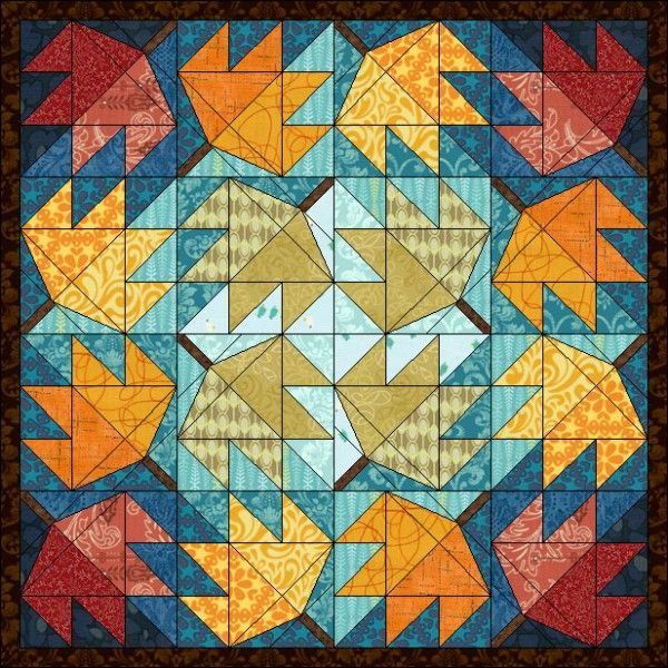 Free Fall Leaf quilt pattern for EQ7 EQ6 or Quilt Design Wizard by ... : the electric quilt company - Adamdwight.com