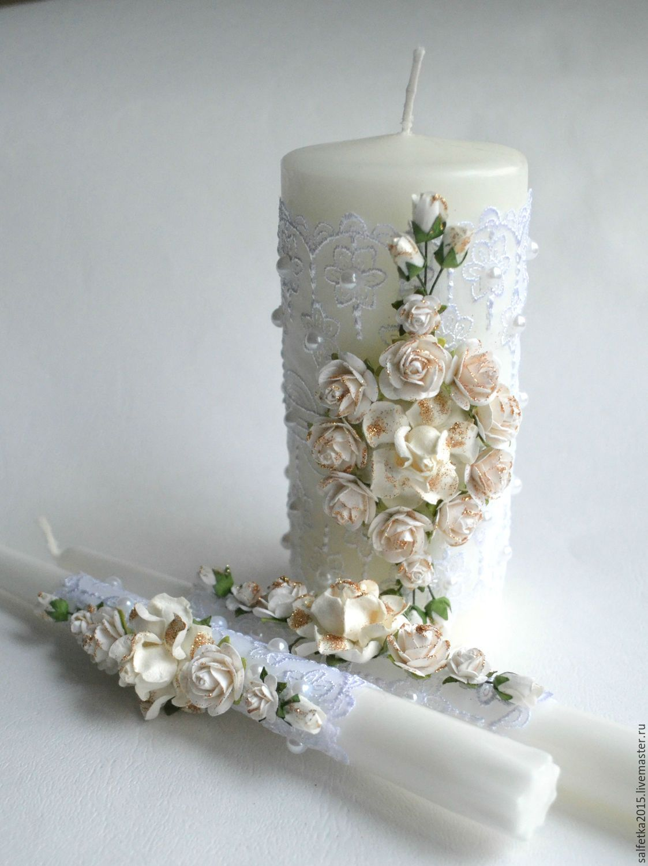 Свечи семейный очаг белые розы с золотом - белый, золотой, свеча свадебная