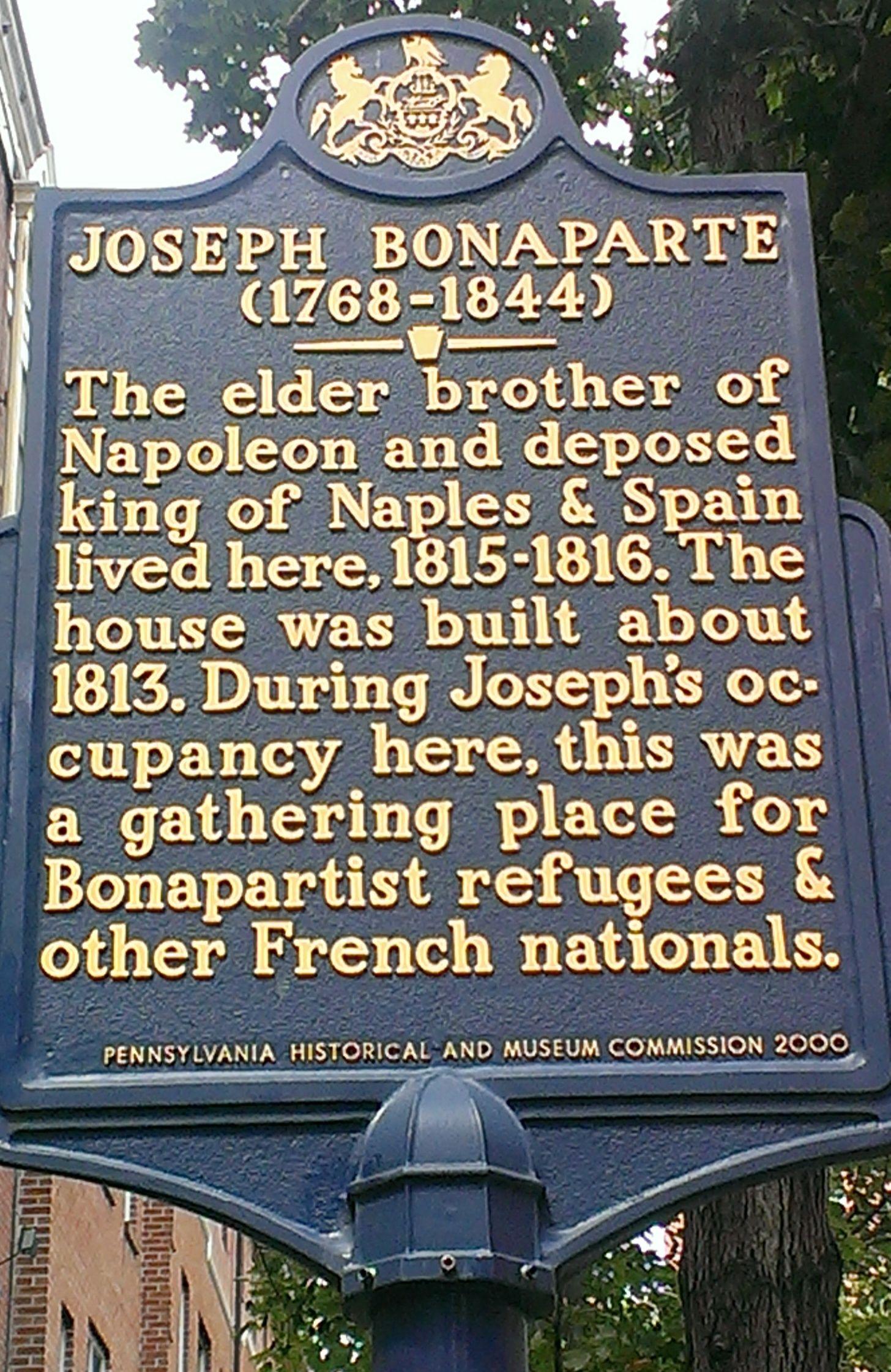 Joseph bonaparte this maker is located on the 200 block