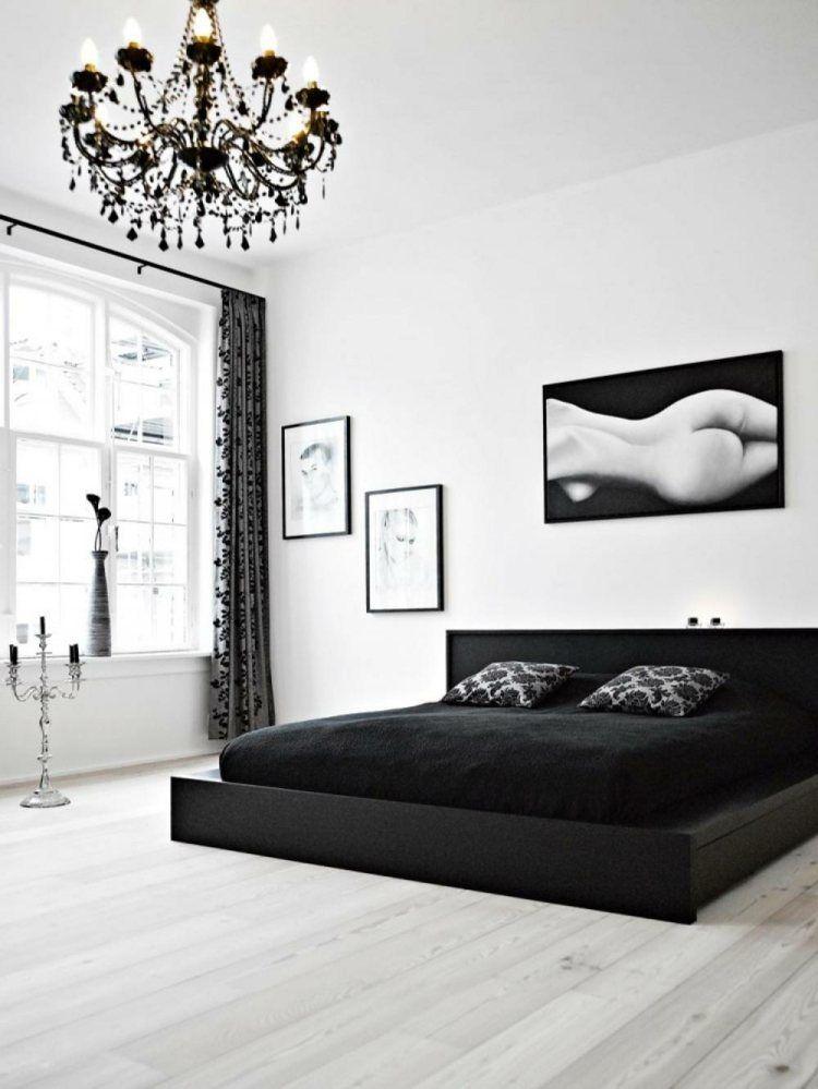 Déco noir et blanc avec touches de couleur chambre à coucher