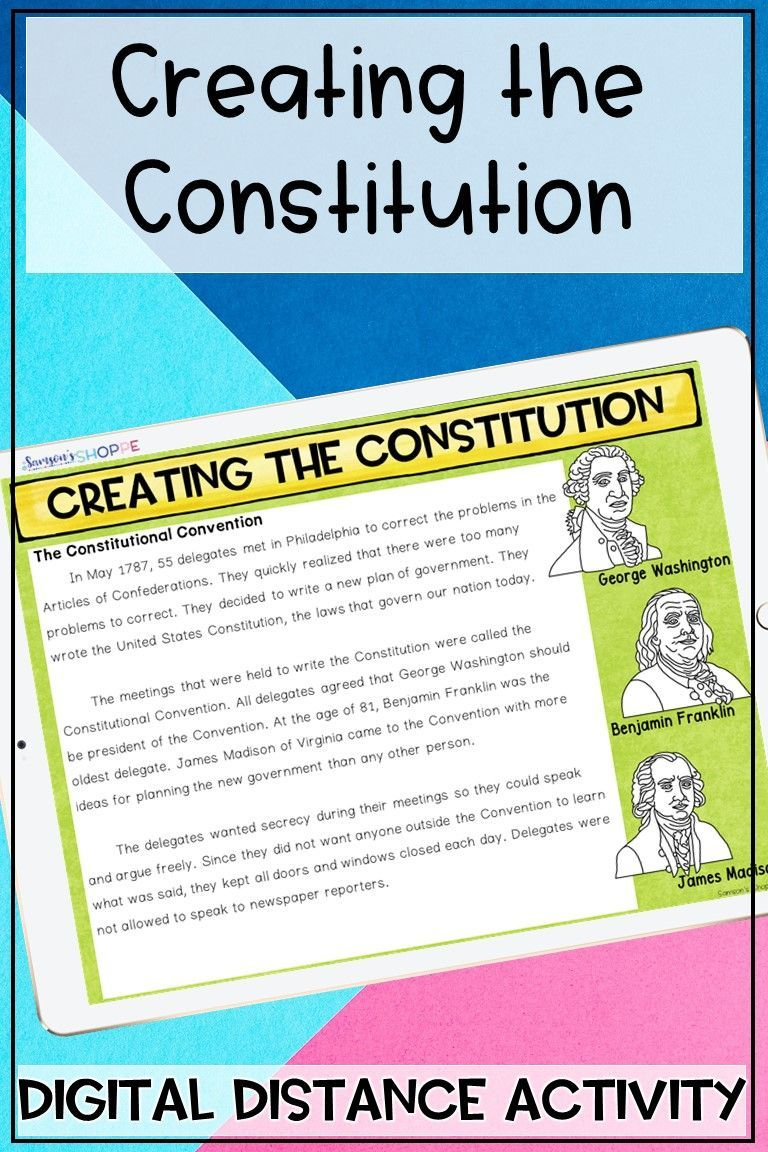 Creating The Constitution Digital Distance Learning Activity In 2020 Digital Learning Activities Distance Learning Upper Elementary Science