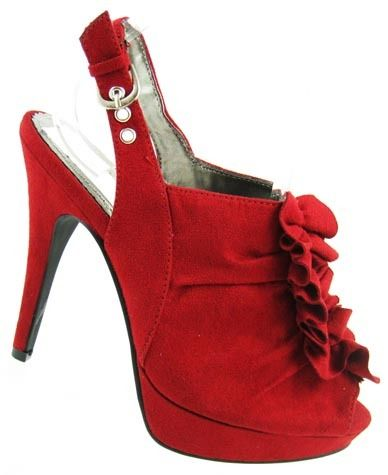 bought these  BRAND NEW FAUX SUEDE PLATFORM RUFFLE HEELS RED, BLACK | eBay