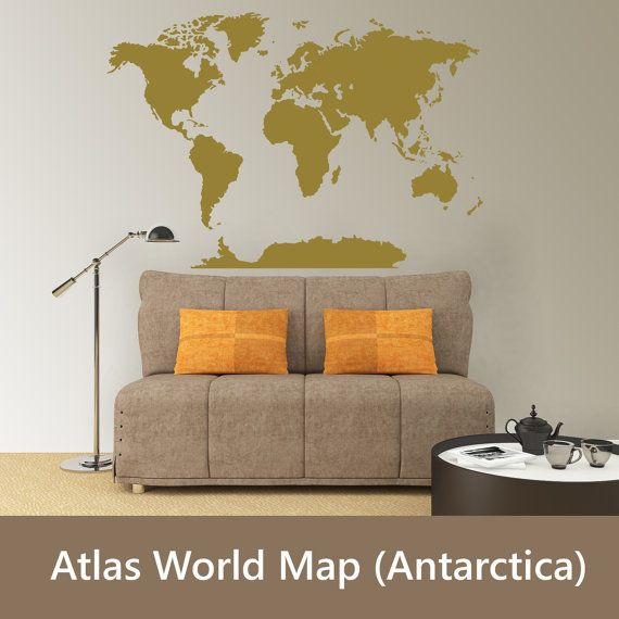 world atlas map w antarctica wall vinyl decal metallic gold silver