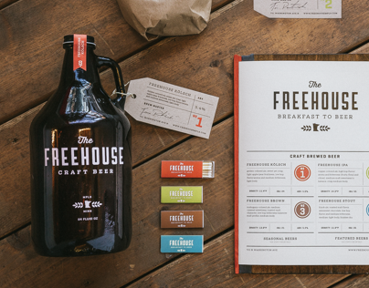 Identity design for The Freehouse, a Minneapolis based restaurant and brew house.