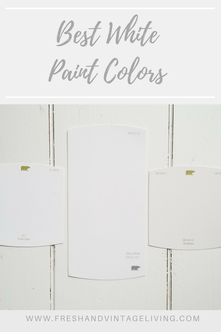 Favorite White Paint Colors #indoorpaintcolors Polar Bear for trim through out house. Shoelace for kitchen walls. Favorite White Paint Colors - Fresh & Vintage Living #indoorpaintcolors