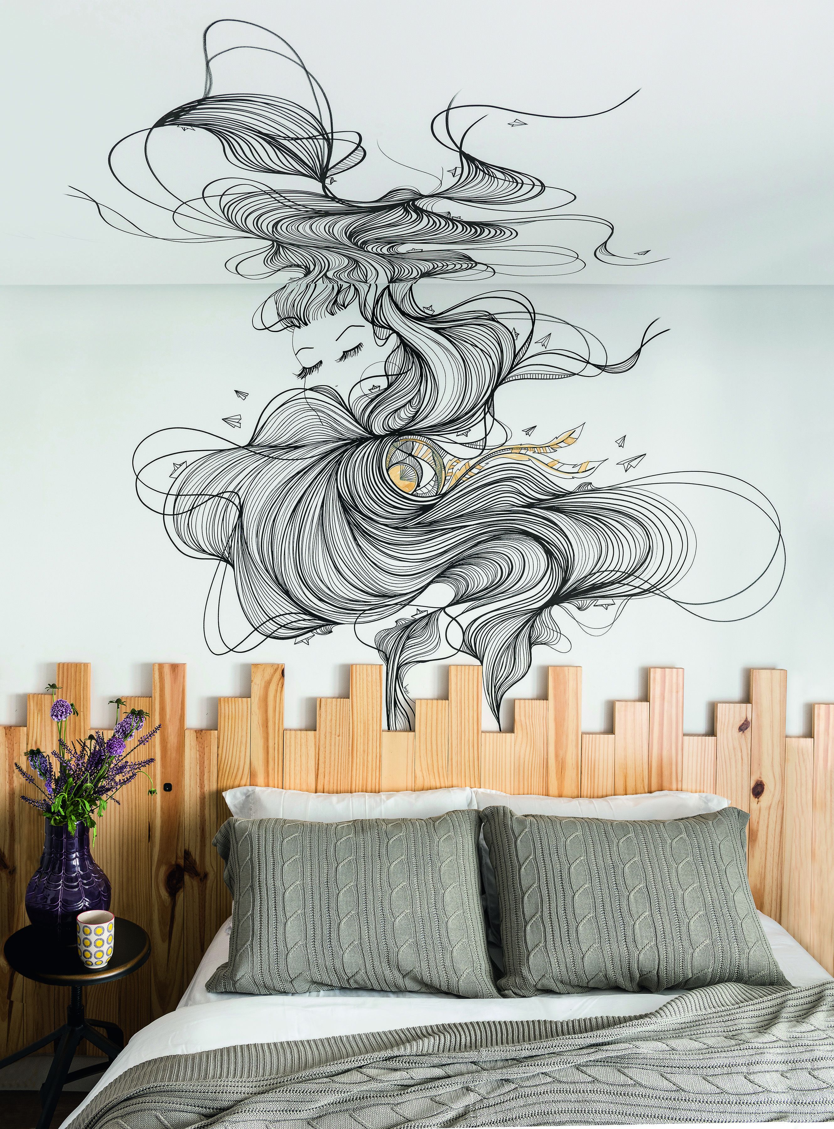 10 Ideias Para Dar Uma Nova Vida Para A Parede Vazia Do Quarto  ~ Grafite Parede Quarto Com Quarto Moderno Solteiro
