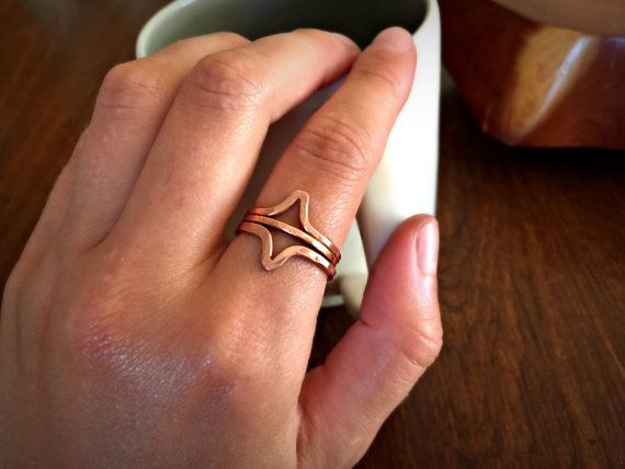 Hammered Solid Copper Minimalist Double Arrow Three Ring Stack by canvasandcrow on Etsy