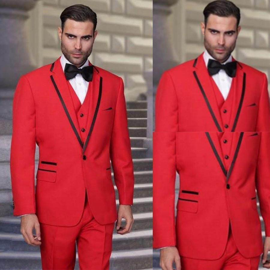 latest coat pant designs red men suit prom wedding suits slim