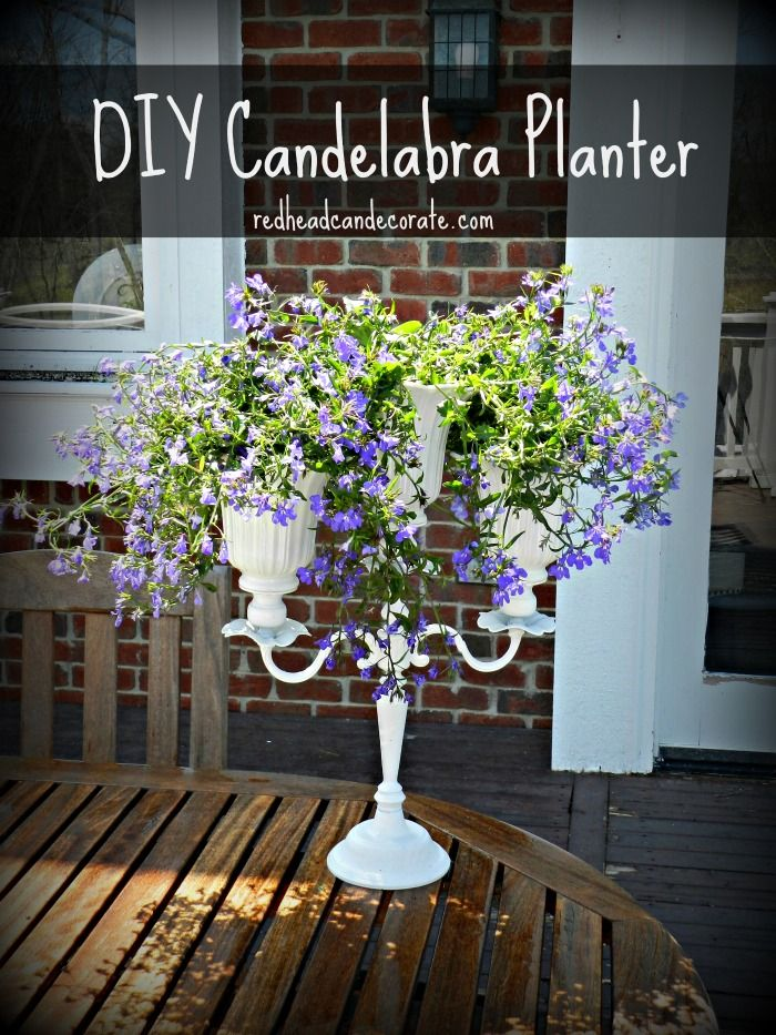 Diy Candelabra Flower Planter With Upcycled Ceiling Fan Shades Flower Planters Ceiling Fan Shades Candelabra Flowers