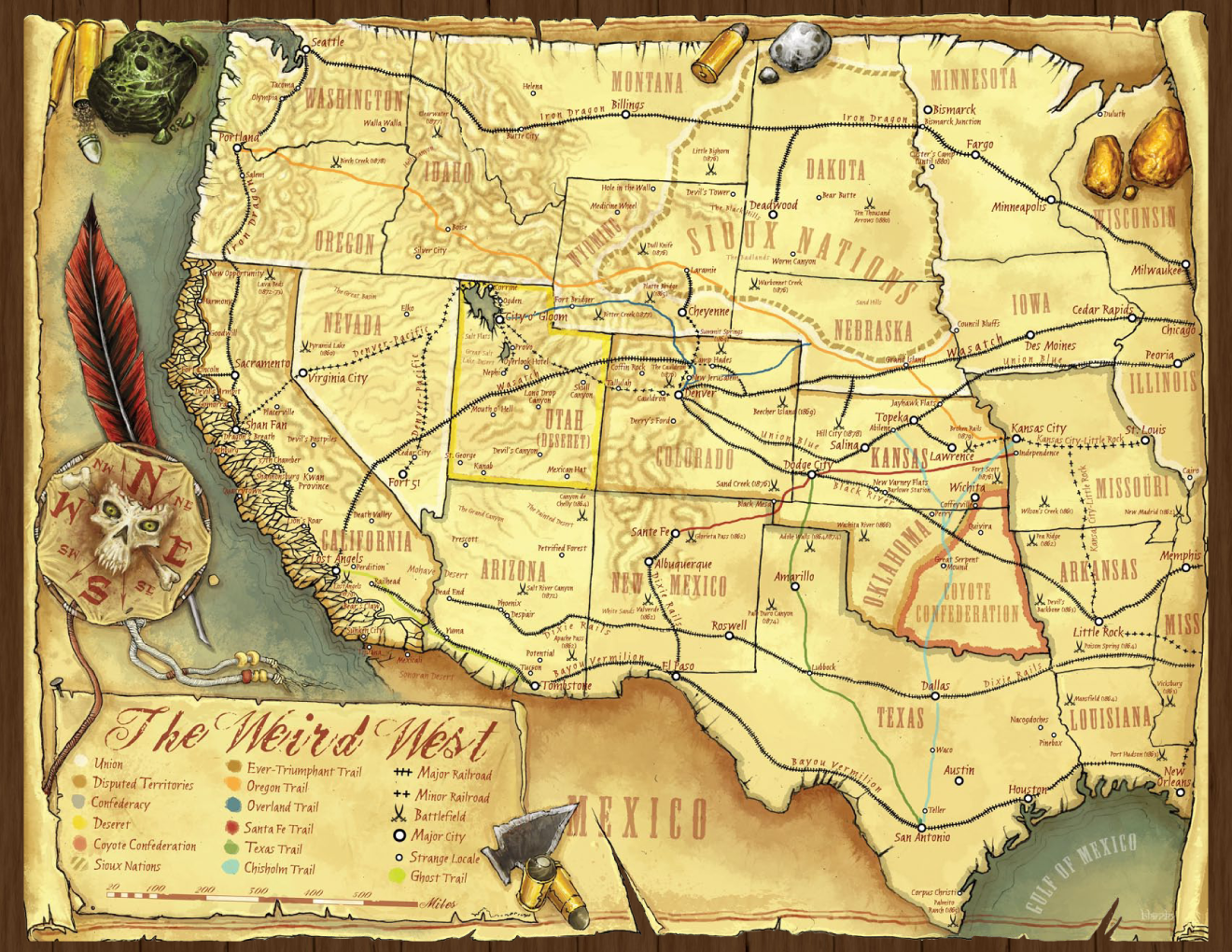 Deadlands California Map.A Map Of The Weird West As It Appears In The Deadlands Rpg