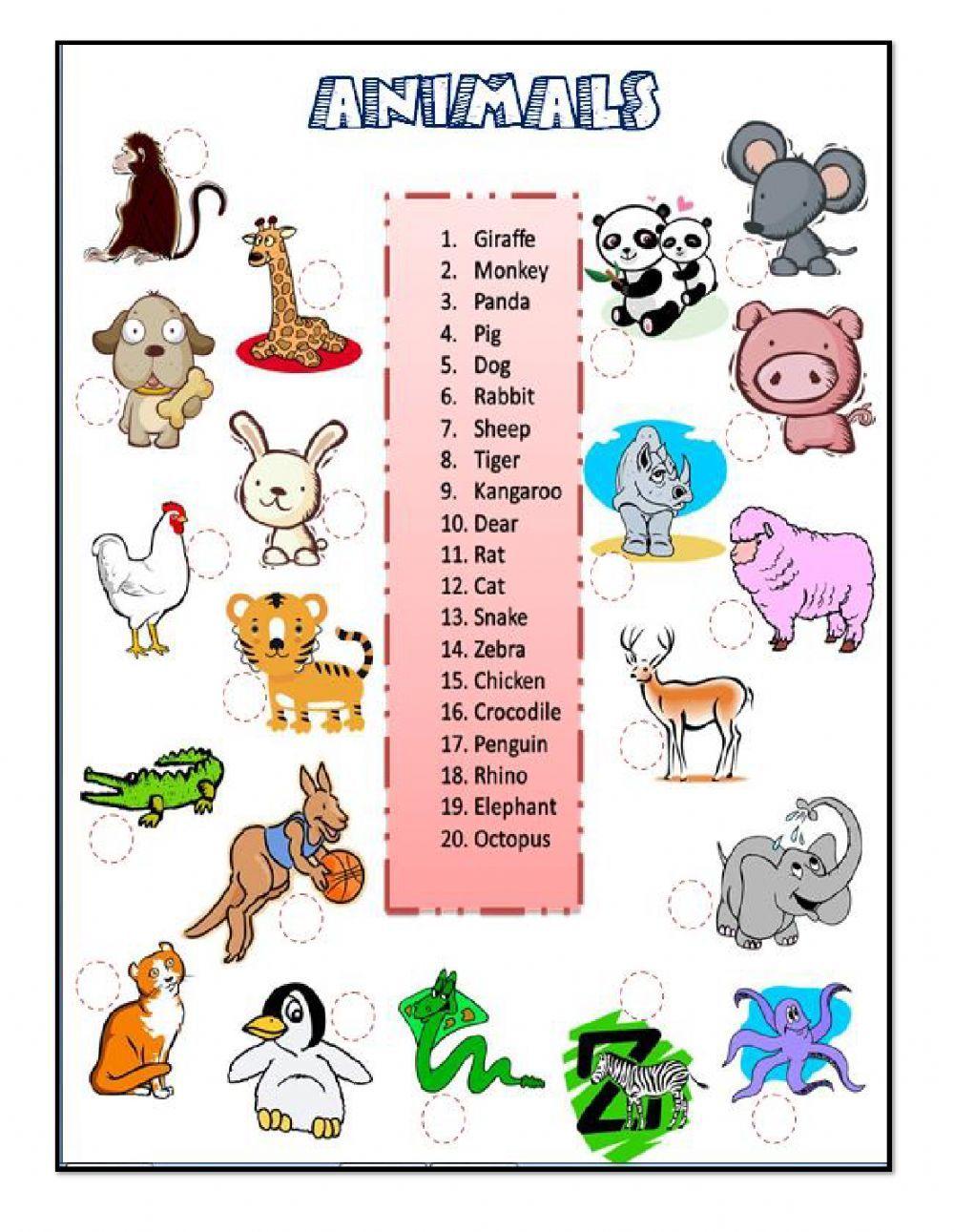 animals Interactive worksheet Anglais 6ème, Anglais