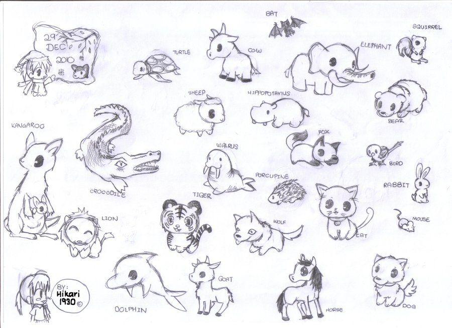 Chibi Animals By Hikari1930 Deviantart Com On Deviantart Baby Animal Drawings Cute Animal Drawings Animal Drawings