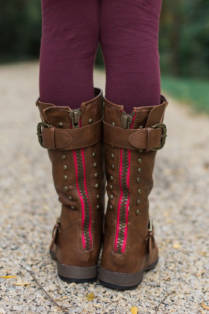 Kids Tan Studded Colorful Zipper Boot – UOIOnline.com